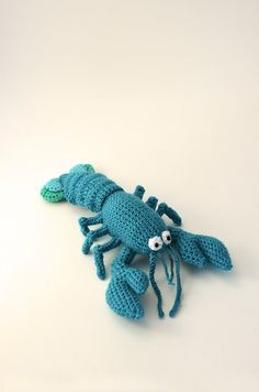 He's cute but way too much detailed crocheting for me!  Blue Lobster  Amigurumi  Seafood  Ocean by VliegendeHollander, $5.99