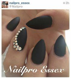 Matte Black Almond Nails w/ Rhinestone Accent French Nails Glitter, Matte Black Nails, Matte Gel, Almond Shape Nails, Almond Nails, Nails Shape, Prom Nails, Fun Nails, Bling Nails