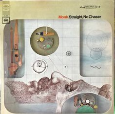 Front cover of Thelonious Monk's STRAIGHT, NO CHASER album from 1967 has a very modern art look for the cover graphics.