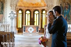 pastel old world themed wedding, beautiful bride and groom portrait inside bella donna chapel.