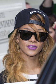 1884ed3273 Rihanna Wayfarer Sunglasses Rihanna looked hip and stylish in classic black Ray  Ban wayfarers. Brand  Ray-Ban Rihanna Bright Lipstick Rihanna caught our ...