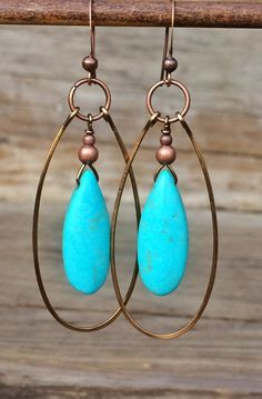 Turquoise dangle earrings, turquoise jewelry, hoop earrings, turquoise earrings, southwestern jewelry, western jewelry, copper hoop earrings
