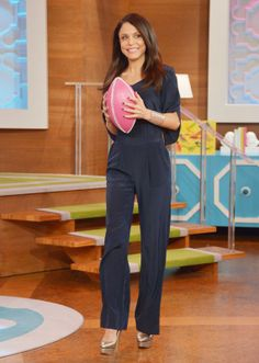 Jumpsuit: DVF  Earrings: Bethenny's personal studs  Bracelet: John Hardy Cuff  Ring: Bethenny's personal ring  Heels: Charlotte Olympia