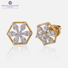 Lovely stud earrings by Waman Hari Pethe. Download Joolz for more.