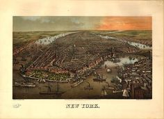 New York Map Vintage New York Posters Unique Wall Art — giclee print and framed in USA by MUSEUM OUTLETS