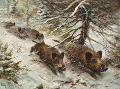 Wilhelm (Willi) Lorenz (German, 1901-1981) Wild boars running in the forest: