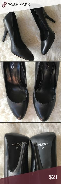 """Aldo black heel pumps Aldo back heels only worn once for maybe 30min. Please reference picture carefully the shoes have a lot of life the soles have subtle signs of wear. No holes no tears. The leather does show subtle signs of wear such as marking or scuffs but very subtle and unnoticeable. Heel is 4.25"""" Aldo Shoes Heels"""