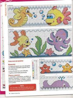 Oieee!!!  Estou postando os gráficos de peixes que tenho, eu não segui o gráfico para fazer a toalha do Benjamin, fiz montagens... O mono ai...