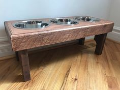 Primitive pallet dog bowl stand- elevated pet feeding station- rustic dog bowl stand- 3 bowls   Included- custom sizes by Kustomwood on Etsy