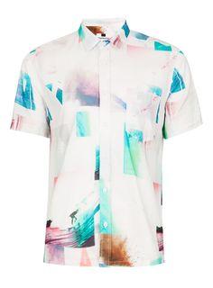 Photo Print Spliced Short Sleeve Casual Shirt - Vacation Shop Edit -  Clothing - TOPMAN USA 19c07de349f5