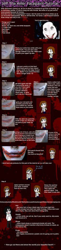Epic Jeff the killer facepaint tutorial by SwordKnight131 on deviantART