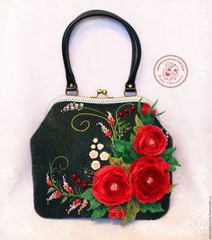 Купить Сумка Скарлет валяная из шерсти - цветочный, сумка валяная, сумка ручной работы