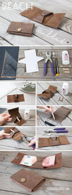 DIY mini wallet + pattern- Instructions for a small purse made of leather - Leather Accessories, Leather Jewelry, Leather Craft, Diy Mini Wallet, Pochette Diy, Crea Cuir, Sewing Projects, Diy Projects, Wallet Pattern
