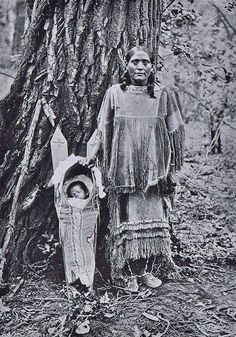 Cree mother and child. Beautiful dress.