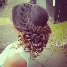 4st braid and curly updo