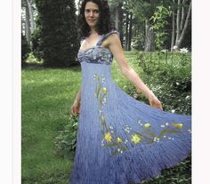 Silk hand painted evening halter dress blue with by ChicComplement, $350.00