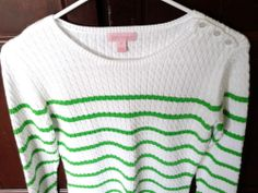 LILLY PULITZER Stripe Cotton Cable Knit Crewneck Long Sleeve Sweater Sz M. MINT