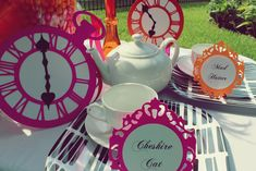 Love these clocks in different colors... the tablecloths could be different colors to :)