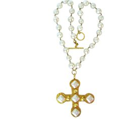 Dominique Aurientis Pearl Studded Maltese Cross Necklace ($1,550) ❤ liked on Polyvore featuring jewelry, necklaces, crosses, multiple, stud necklace, cross jewelry, pearl cross necklace, crucifix jewelry and white pearl necklace