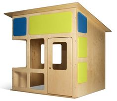 The ultimate modern kids' playhouse - this is so cute, mine would happily live in it! Modern Playhouse, Kids Indoor Playhouse, Childrens Playhouse, Backyard Playhouse, Build A Playhouse, Simple Playhouse, Outdoor Playhouses, Playhouse Kits, Indoor Playroom