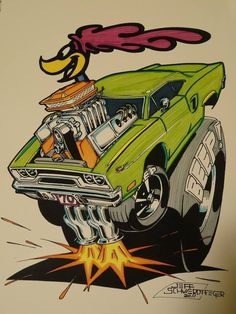 """""""Beep Beep"""" Road Runner artwork by Jeff Swerdtfeger (ca. in the style of Ed """"Big Daddy"""" Roth Car Drawings, Cartoon Drawings, Cartoon Art, Rat Fink, Rat Rods, Weird Cars, Cool Cars, Mopar, Caricatures"""