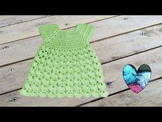 Robe point en relief crochet toutes tailles / Dress all sizes crochet (english subtitles) - YouTube