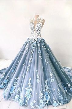 Dusty Blue Tulle Long Applique Evening Dresses, Custom Size Formal Prom Gown Dusty Blue Tulle Long A How To Dress For A Wedding, Wedding Dresses With Flowers, Elegant Wedding Gowns, Bridal Dresses, Wedding Lehnga, Long Prom Gowns, Prom Dresses Blue, Ball Dresses, Formal Dresses