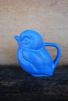 vintage blue ceramic bird creamer / mini pitcher