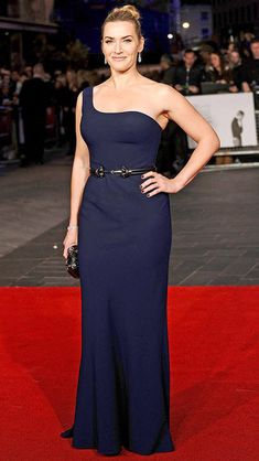 Kate Winslet in a classic navy one-shoulder dress