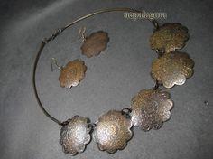 N4055 GYPSY Naga tribal Choker antique copper tone NECKLACE earrings set Indian nepalagora #Handmade