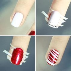 Paint your nails a white polish.Take a peice of tape and pull at the tape randomly, put the prices on your nail, and use a red nail polish to go over the nail creating a peppermint looking nail