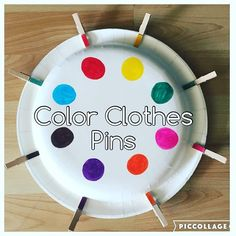 Color Clothes Pins {I made Bree this quick and easy color match game with clothes pins. Perfect to take in the car or just keep her busy at home!} #preschool #toddlerlearning #toddleractivities #toddleractivity #toddlercolors #toddlerfinemotirskills #toddlermotorskills #toddlerfun #toddlerplay #toddlerlife #toddler