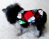 Minky Fleece Small Dog's Coat Custom to Fit Pomeranian Size -  Black, White, Royal Blue, Red and Green Snowman in Cupw Print https://www.etsy.com/listing/206668784/minky-fleece-small-dogs-coat-custom-to?ref=teams_post