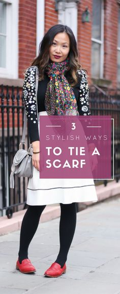 Scarf styles, how to tie a scarf, how to style a scarf, outfit ideas with scarves. See the post on www.layersofchic.com