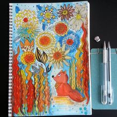 Colors of nature  Doodling  acryle, watercolor, copic markers, paper. @juliasavushkina