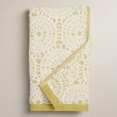 One of my favorite discoveries at WorldMarket.com: Moss Green Lydia Medallion Sculpted Hand Towel