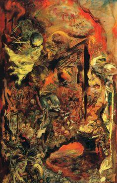 Tableaux sur toile, reproduction de Grosz, The Pit, 153x94cm