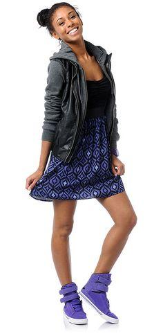 Lunachix Knit Dress. #Dravus Girls 'Meridian' Grey/Black Hoodie. #Supra Girls Purple #Leopard Embossed shoe. #Nixon watch. (Fall 2012 LookBook. Look # 18)