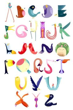 This bird alphabet chart wins us over on merit of creativity and sheer joyfulness. By Andrea Kalfas.