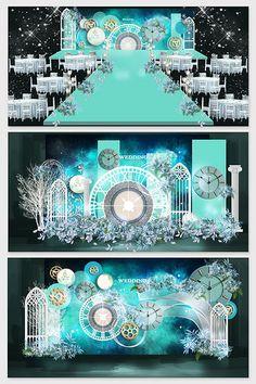 Personalized custom modern minimalist starry sky clock blue wedding renderings#pikbest#decors-models Wedding Stage Backdrop, Wedding Stage Design, Wedding Stage Decorations, Table Decorations, Indian Wedding Receptions, Wedding Mandap, Wedding Table, Starry Wedding, Blue Wedding