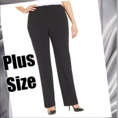 Plus size black pants Casual DKNY black pants. Very nice quality. Tab and zipper front. Rayon, polyester and spandex blend. Purchased at Sax Fifth Ave. New; never used. Pants