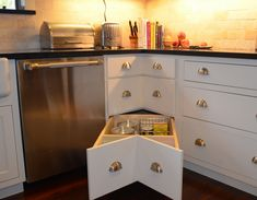 kitchen drawer organizers | Kitchen Cabinet Solutions: Corner Drawers - Blog - New Life Bath ...