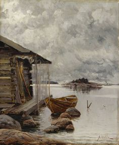 Aukusti Uotila, Boat House - Nuottakota oil on canvas, Valtion taidemuseo Russian Painting, Figure Painting, Painting & Drawing, Old Paintings, Seascape Paintings, Landscape Paintings, Watercolor Landscape, Watercolor Art, Illustrations