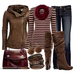 Casual Brown Leather, created by hvershure on Polyvore