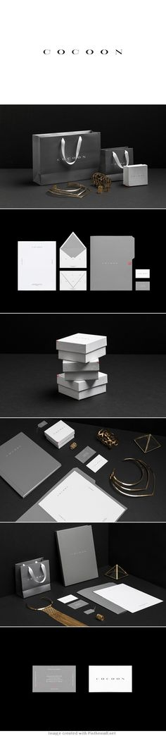 Simple elegant Cocoon Jewelry identity packaging branding curated by Packaging Diva PD