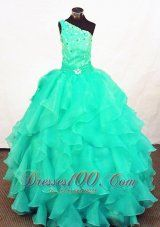 Turquoise Organza Beading Little Girl Pageant Dresses Customize  Pageant Dresses