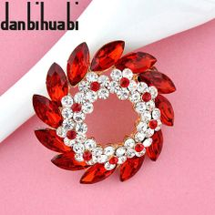 Elegance Crystal Flower Brooches red Rhinestone Brooch And Pins Designed  for women costume jewelry wholesale 4f16d6ca49b8