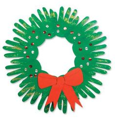 Kids Christmas Hand Wreath - have one for older kids... Need to do one more.