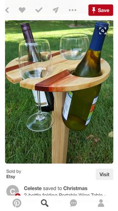 Folding Portable Wine Table - Picnic Wine table - Outdoor Wine Table - Folding Wine Table - Beer Glass Table by MRWoodCrafting on Etsy Table Picnic, Folding Picnic Table, Woodworking Basics, Woodworking Plans, Woodworking Projects, Wine Table, Glass Table, Bottle Display, Backyard