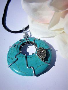 Owl Pendant Owl Totem Turquoise Necklace Owl Necklace